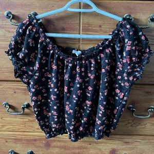 Aeropostale Floral Lace Cropped Shirt